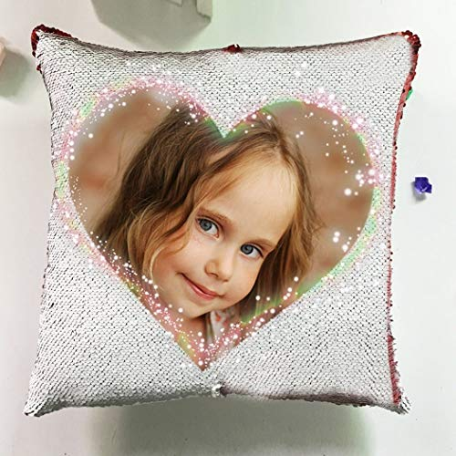 yyfq Personalised Sequin Cushion Cover Magic Reveal Printed Photo Gift Custom Made Heart shaped photo Cushion Cover