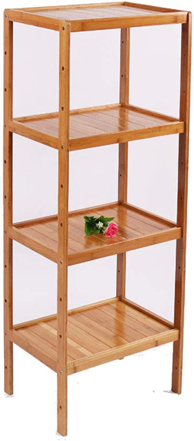 LCTZWJ Bamboo Shelf, 2&3&4 Tier Bamboo Kitchen Storage Indoor Flower Stand,Multifunctional Solid Wood Storage Rack Made of 100% Natural Bamboo (color   42CM(L), Size   Four Layers)