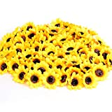 KINWELL 100pcs Mini Artificial Silk Yellow Sunflower Heads 1.8' Fabric Floral for Home Decoration Wedding Decor, Bride Holding Flowers,Garden Craft Art Decor