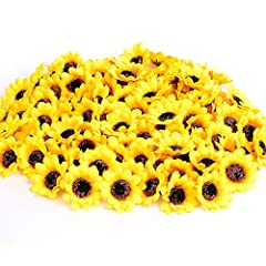 """Material: High quality silk flowers and plastic Color:Bright Yellow,each has two layer petals Mini Size: Each head is approximately 1.8""""(4.78cm) across Package Includes:100 pieces of the artificial sunflower heads in one set Usages:Good Ideas for emb..."""