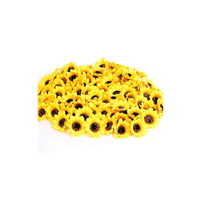 """silk flower arrangements kinwell 100pcs mini artificial silk yellow sunflower heads 1.8"""" fabric floral for home decoration wedding decor, bride holding flowers,garden craft art decor"""