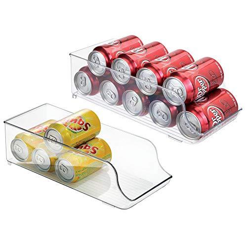 MDESIGN 2er-Set Dosenhalter für Kühlschrank und Küchenschrank – ideale Lebensmittel Aufbewahrungsbox für neun Dosen – praktischer Kühlschrank Organizer – durchsichtig