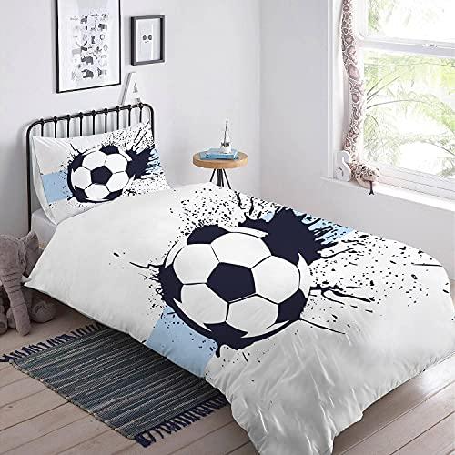 MUSOLEI Fußball Bettwaren-Set für Kinder 135x200 Jungen blau Fußball Bettbezug Teenage Kinderbettwäsche Weiches Reißverschluss Mikrofaser Kissenbezüge 80*80cm