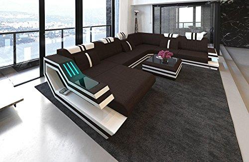 Sofa Dreams Moderne Stoffcouch Ravenna in der XXL Variante mit LED Beleuchtung