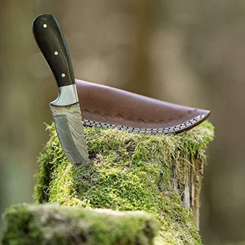 elToro Steel Horn - Damast - Jagdmesser - 9cm - inkl. Lederscheide; Messer für Camping, Outdoor, Survival, Wald und Forst