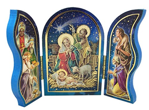 Natural Wood Triptych with Holy Family and Shepherd Nativity Scene, 3 1/2 Inch