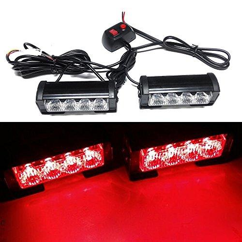 Viktion 8W 2 * 4 LEDs Feux de Pénétration Lumière Stroboscopique Eclairage Clignotant à 7 Modes pour Voiture Camion véhicule SUV Lampe pour Avertissement Urgence Secours Travaux DC12V (Rouge)