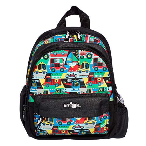 Smiggle Big Adventures Teeny Tiny Nursery Backpack for Boys and Girls with Dual Drink Bottle Sleeves & Name Label | Cars Print