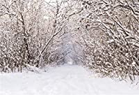 HD 7x5ftフォレスト雪に覆われた木の背景冬の屋外雪に覆われた風景写真の背景コールドマウンテン雪原パスクリスマスホリデー旅行新年写真スタジオビニール小道具