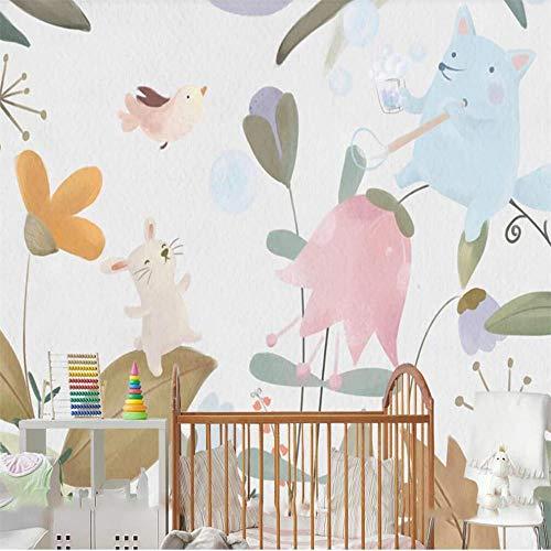 Papel tapiz 3D mural niños dibujos animados jardín de infantes pintado a mano fondo decoración de la pared pintura,400X280cm