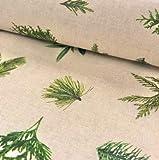 0,5m Dekostoff Nadelbaumzweige auf Natur 70% Baumwolle, 30%