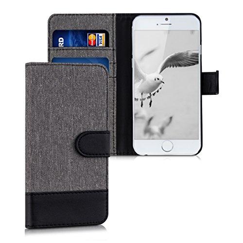 kwmobile Funda Compatible con Apple iPhone 6 / 6S - Carcasa de Tela y Cuero sintético Tarjetero Gris/Negro