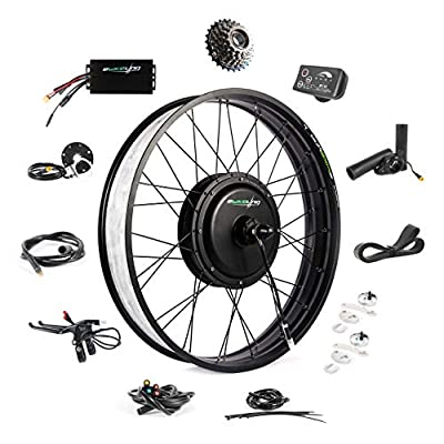 "EBIKELING 48V 1200W 26"" Fat Direct Drive Waterproof Electric Bike Kit - Ebike Conversion Kit - Electric Bike Conversion Kit (Rear/LED/Thumb)"