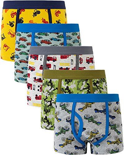 Adorel Jungen Boxershorts Unterhosen mit Eingriff 5er-Pack Auto & Tarnung 110-116 (Herstellergröße XS)