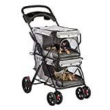 LONABR Folding Dog Stroller Travel Cage Stroller for Pet Cat Kitten Puppy Carriages - Large 4 Wheels Elite Jogger - Single or Multiple Pets (Gray - 2 cage)