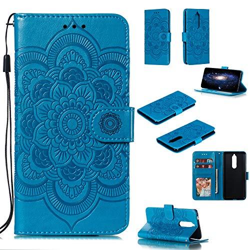 COZY HUT Cover Nokia 5.1/Nokia 5 2018, [Kickstand] [Slot per Schede] [Chiusura Magnetica] Flip Caso in PU Pelle Premium Portafoglio Custodia per Nokia 5.1/Nokia 5 2018 - Mandala Blu