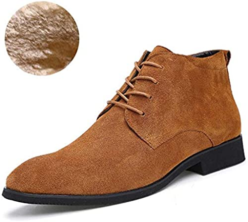 Bottes en Cuir Pointues pour Hommes Augmentation Occasionnelle, Chaussures Chaudes épaisses, antidérapantes Nouveau
