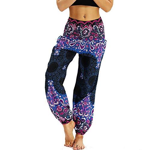 Nuofengkudu Damen Hippie Haremshose Capri Thai Hose Leichte mit Taschen Dünn Boho Ethno Blumenmuster Muster Strand Sommerhose Yogahose Violett Floral