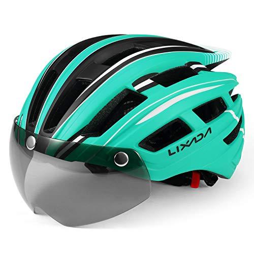 Lixada Mountain Bike Helmet Casco da Motociclismo con Luce Posteriore Staccabile Visiera Magnetica UV Protettiva (Blu Reale Nero)