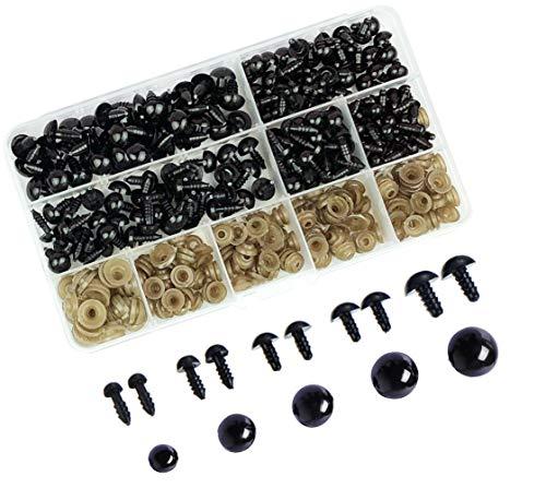 Aucheer 200 pièces 6 mm - 12 mm Yeux de sécurité fixés en Plastique Noir Yeux de sécurité Solides avec rondelles pour Peluche amigurumi Peluche marionnette marionnette - Noir