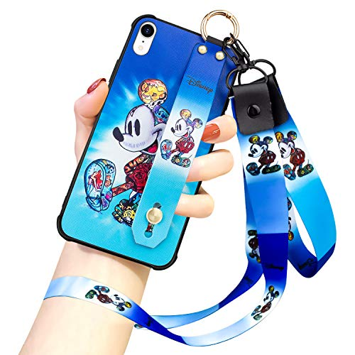 DISNEY COLLECTION iPhone XR Case, Mickey Mouse Street Fashion Wrist Strap Band Protector Phone Cover Full-Body Bumper Lanyard Case for for iPhone XR 6.1 Inch 2018