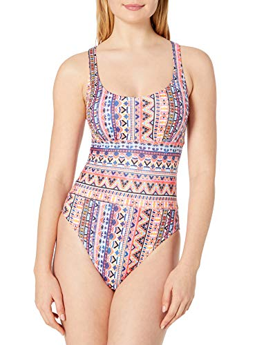 next Damen Minimalist Cross Back One Piece Swimsuit Einteiliger Badeanzug, Daylight Daze Coral, Medium