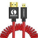 ANNNWZZD Cable Micro HDMI a HDMI Cable de resorte 4k (1m extendido) Compatible con 4K, Ethernet, 3D, Compatible con retorno de audio
