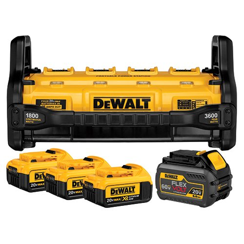DEWALT DCB1800M3T1 FLEXVOLT Portable Power Station & Simultaneous Charger (includes 4 Batteries)