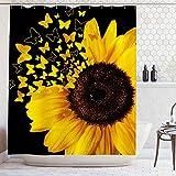 Ambsunny Sonnenblumen-Duschvorhang, Schmetterling, blühende Wildblumen, Frühlingspflanzen, rustikale Naturkunst, Stoff, Badezimmer-Deko-Set mit 12 Haken, 152,4 x 180,3 cm, Schwarz / Gelb
