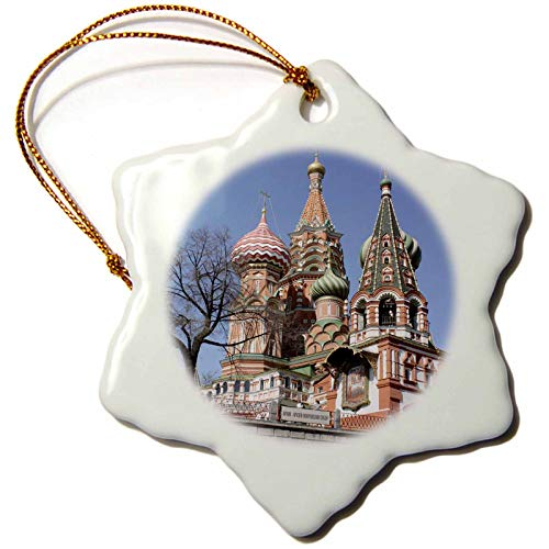 3dRose St. Basil Cathedral, Red Square, Moscow, Russia Photo by Rhonda Albom - Snowflake Ornament, Porcelain, 3-inch (orn_164784_1)