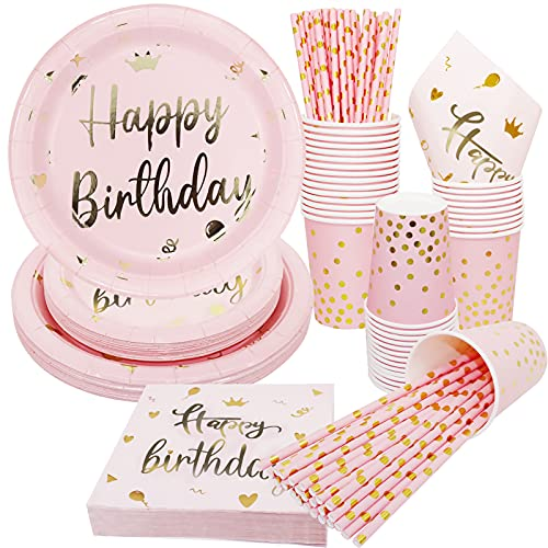 120pcs Piatti, Bicchieri e Cannucce per Feste di Compleanno, Piatti e Bicchieri Carta per Feste, Piatti Compleanno Bambina, Piatti e Bicchieri per Feste di Compleanno per 24 Ospiti
