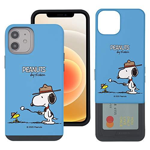 """iPhone 12 mini ケース と互換性があります Peanuts Snoopy ピーナッツ スヌーピー カード スロット ダブル バンパー スマホ ケース 【 アイフォン 12 ミニ ケース (5.4"""") 】 (キャンプ スヌーピー マシ"""