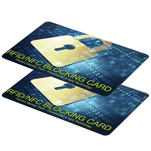 RFID Blocking Card-NFC Contactless Cards Protection for ID's, Passports and Chip Bank Cards-Theft Blocking Wallet Protector,Waterproof,Slim Design -1 Card Protects Your Entire Wallet-2 Packs