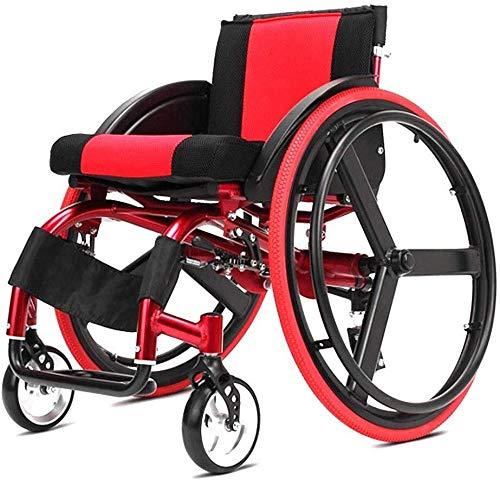 WSHFHDLC Tragbare Rollstühle mit Schnellspann-Hinterradaufhängung Falten Werden bei älteren Menschen mit Autos zur Ruhe angepasst