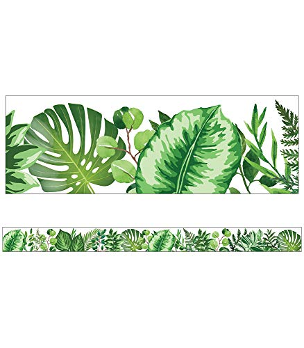 "Schoolgirl Style Simply Boho Greenery Straight Borders—12-Piece, Green Plant-Themed Bulletin Board Border Strips, Classroom and Homeschool Decorations (3' x 3"")"