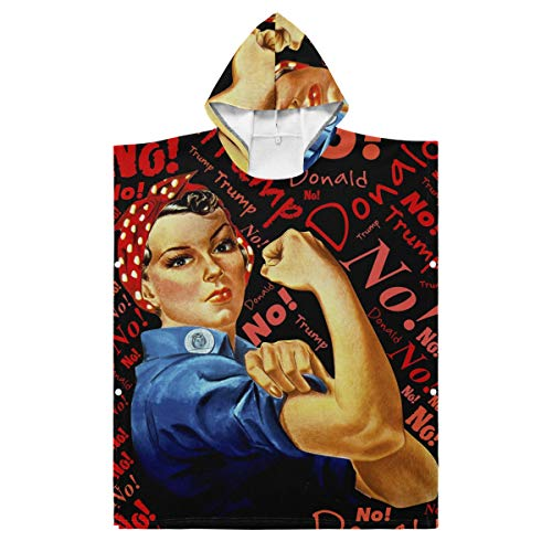 LORONA Kinder Teens Polyester-Baumwoll-Mischgewebe Trump No Defiance Liberation Frau Strandtuch Umhang Decke tragbar Kapuzendecke Kapuzendecke Umhang, Polyester, mehrfarbig, 27.55x27.55in/70x70cm