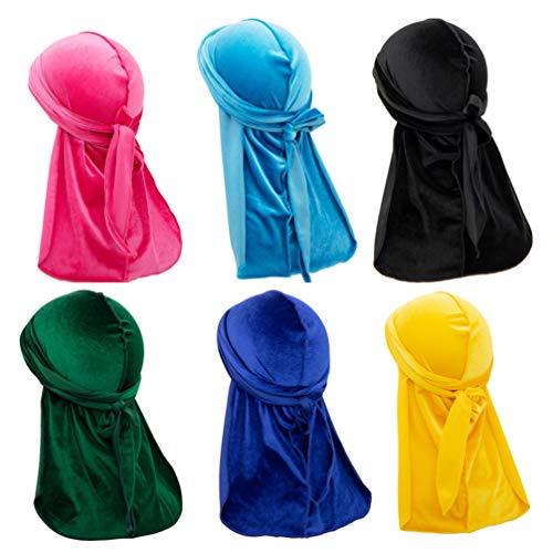 Solustre Durag Samt 6 Stück mit Armband aus weichem Durag, Unisex, langer Schwanz, atmungsaktiv, Stirnband (gemischte Farbe)