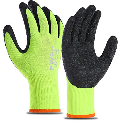 FWPP 120-Pairs Latex Coated Work Gloves, Firm Grip for Construction, Gardening Gloves for Men and Women (Size M Yellow GL008003)