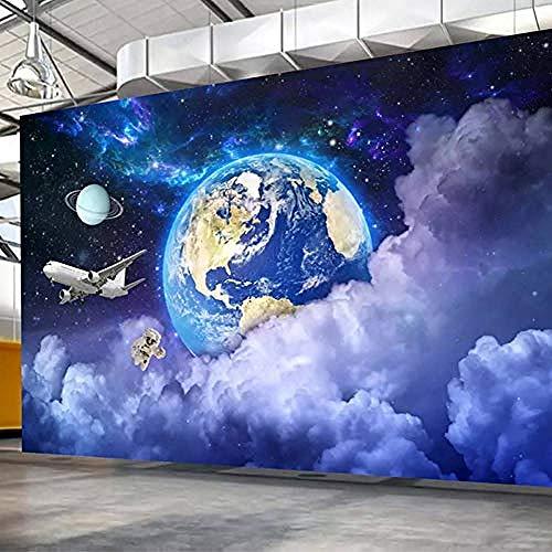 Sdefw Univers Mural De Mur De Papier Peint Personnalisé 3D De La Terre Étoilée Galaxie Planète Fond Photo Art Peinture Murale Salon-336X238Cm