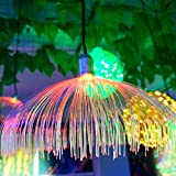 HSLIUYILYA Conducido Fibra Óptica Pequeña Lámpara De Medusas, LED Redondo Impermeable Al Aire Libre Estrellada Light Paisaje Gradiente De Colores Medusas De Luz (10 Piezas)