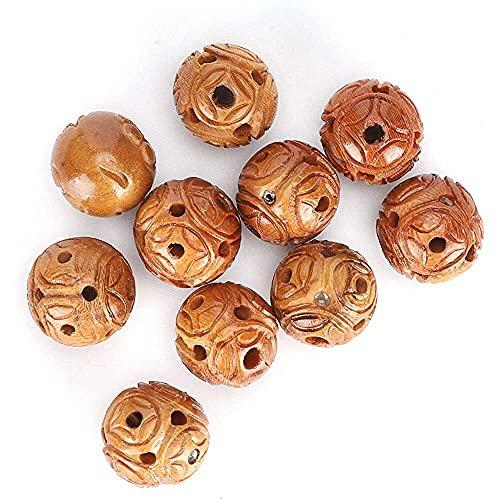 Yuyanshop Cuentas de madera de melocotón, cuentas de madera firme, para pulseras colgantes