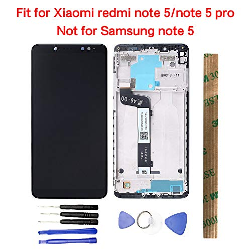 JayTong LCD Display & Replacement Touch Screen Digitizer Assembly with Free Tools for Xiaomi Redmi Note5 / Note 5 Pro Black with Frame(Not for Samsung Note 5)