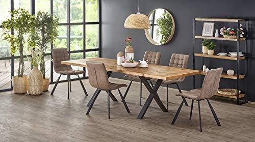 Sellon24/Signal Mesa de comedor extensible 160 (250) cm tablero de madera de roble rústico, color negro claro, mesa de comedor extensible Loft Industrial Xavier