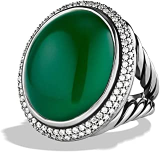 Women Signature 1715 Oval 14k White Gold Ring with Green Onyx and Diamonds, All US Size 4 to 12 Available, Message Your Ring Size