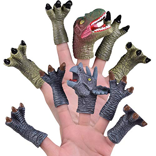 FUN LITTLE TOYS 10 Pcs Dinosaur Finger Puppets, Best Choice for Party Favors, Stocking Stuffers, Pinata Fillers and Goodie Bag Fillers