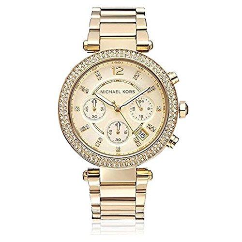Michael Kor MK5354 Parker Damen-Armbanduhr, Strasssteine, goldfarben, Edelstahl, Quarzuhr