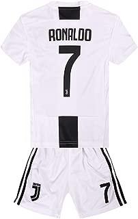 XIUlexiu Ronaldo #7 Home Boys 2018-2019 Soccer Short Sleeves Kids & ShortsWhite