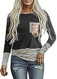 Sudadera de manga larga para mujer, diseño de rayas, con bolsillos, lentejuelas, suelta, cuello redondo, blusa tipo túnica, jersey