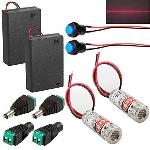 RUNCCI-YUN 2 Stücke 650nm 5mW 3-5V Laserdiode Rot Linienlaser,Einstellbar Laser modul(Fokussierbare Lasermodul) mit Kunststoff Linsen + 2 Stücke 3X AAA Batteriehalter+Momentanen Druckschalter