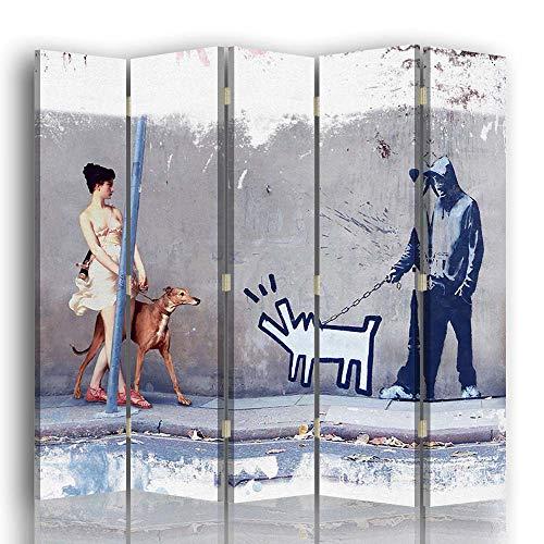 carowall CAROWALL.COM Pared divisoria Arte Mixta 5 Paneles Unilateral Gris 180x175 cm